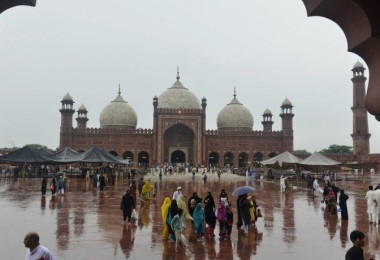Pakistani devotees leave after offering Eid prayers at the start of the Eid al-Fitr holiday marking the end of Ramadan at the Badshahi Mosque in Lahore on July 18, 2015. Muslims around the world are celebrating Eid al-Fitr which marks the end of the month of Ramadan, after the sighting of the new crescent moon. AFP PHOTO / Arif ALI        (Photo credit should read Arif Ali/AFP/Getty Images)