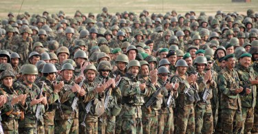 Afghan National Army soldiers stand with pride in Camp Shaheen, Afghanistan, February of 2009.