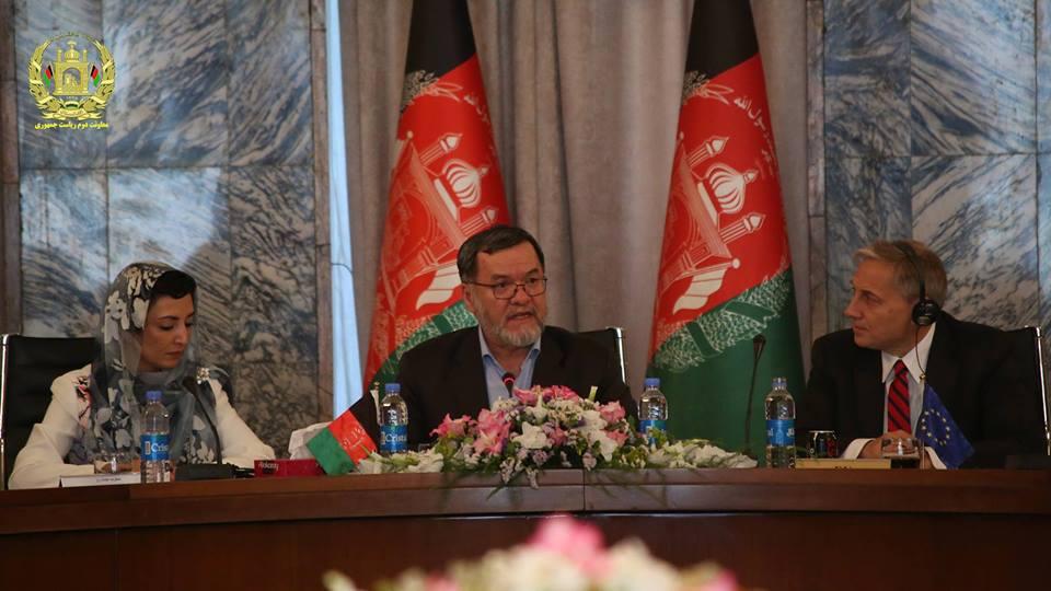 سرور دانش، معاون دوم ریاست جمهوری دومین گفتمان ملی حقوق بشر افغانستان-اتحادیه اروپا را افتتاح کرد