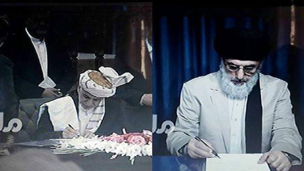 موافقتنامه صلح میان دولت افغانستان و حزب اسلامی به رهبری گلبدین حکمتیار و از مخالفان مسلح دولت پیش از چاشت هشتم میزان توسط رییس جمهور غنی و گلبدین حکمتیار امضا شد