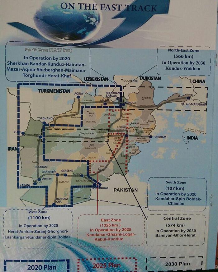 نقشه شبکه خط آهن افغانستان