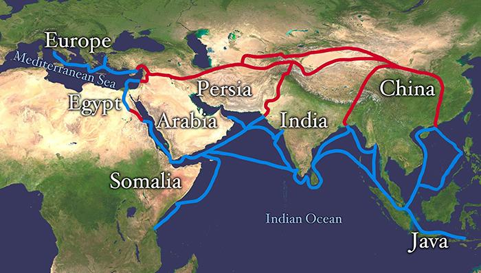 راه ابریشم دریایی و خاور میانه