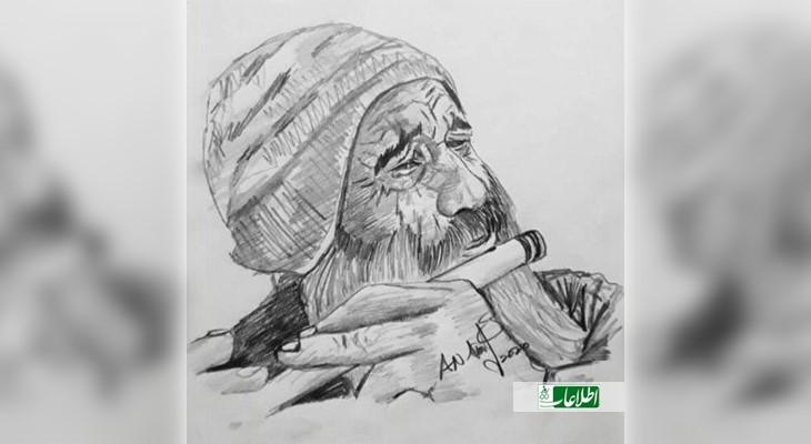 یکی از نقاشان خارجی با شنیدن صدای نی بابا جانان این عکس او را نقاشی کرده است.