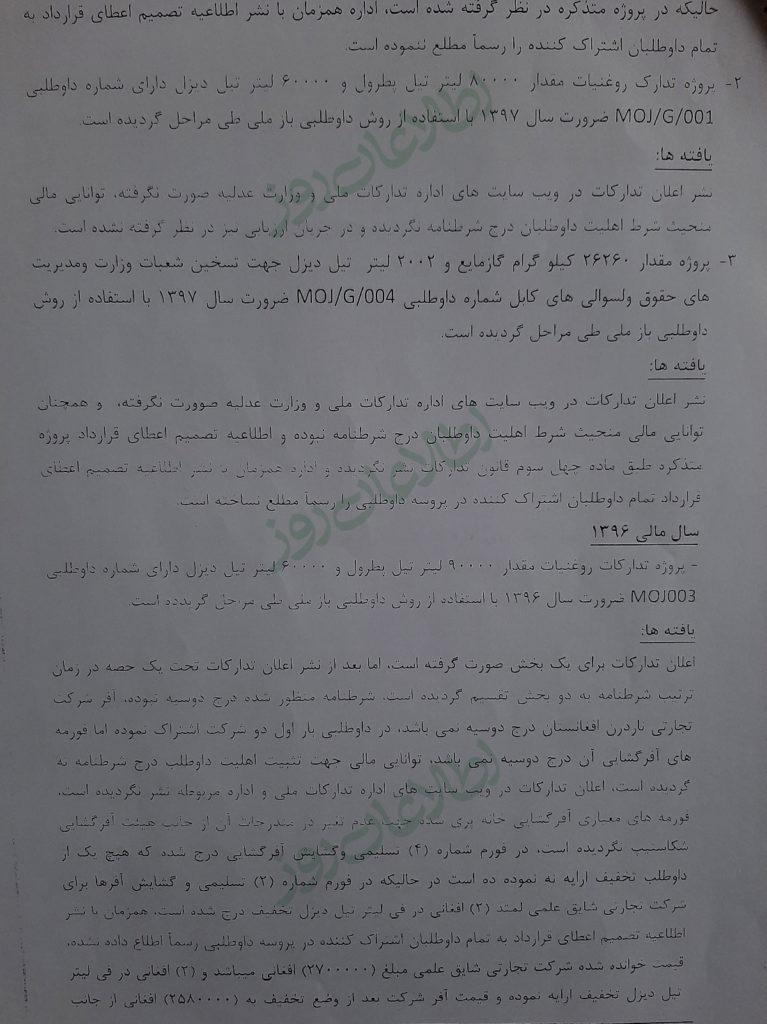 برخی قراردادهای وزارت عدلیه در سالهای مالی 1397 و 1396 که از سوی هیأت بررسی شده است