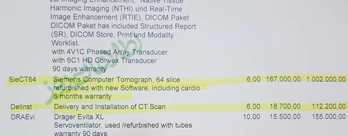 بل خرید دستگاه سیتی اسکن 64 سلایس کمپنی زیمنس که وزارت صحت عامه خریده است