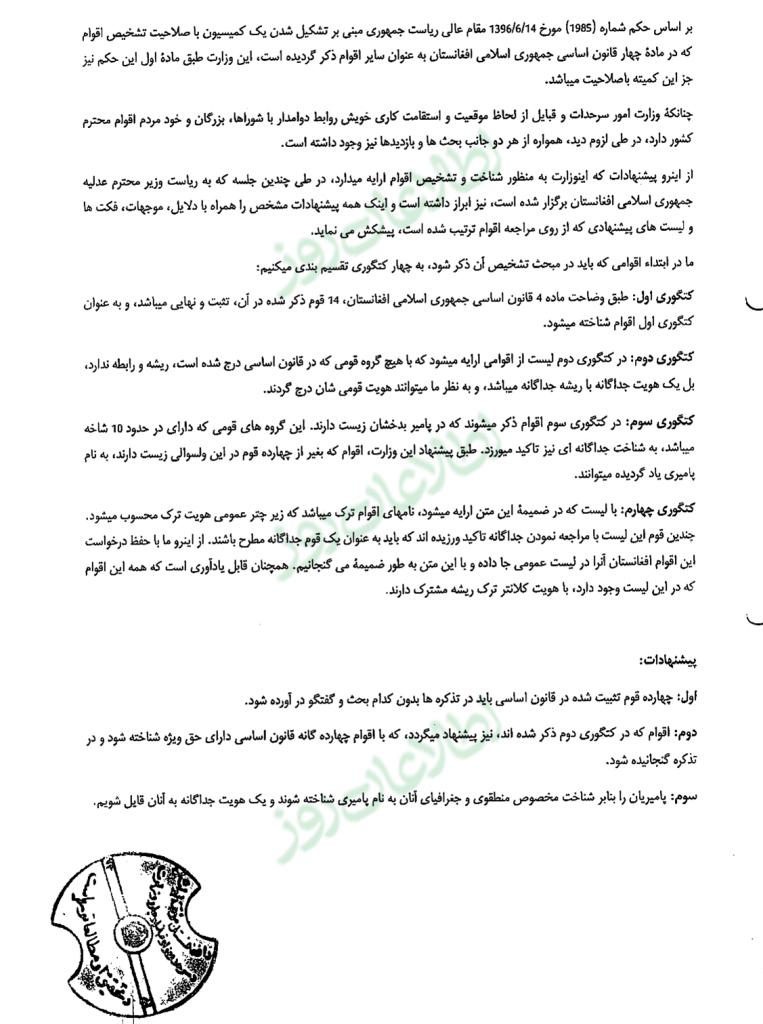 دستهبندی اقوام ساکن در افغانستان از سوی وزارت امور سرحدات و قبایل