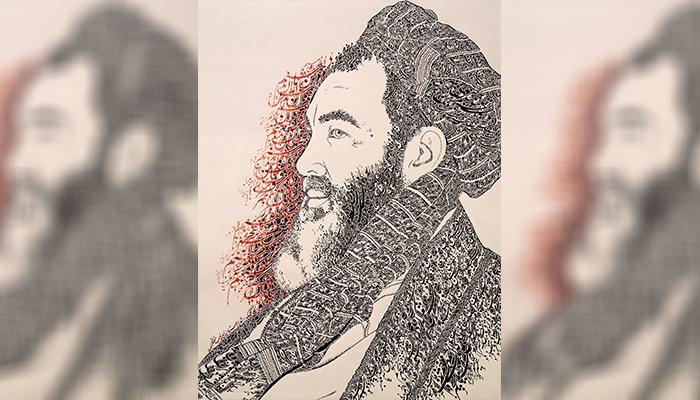 خطاطی پرتره عبدالعلی مزاری از مشهورترین کارهای سلمانعلی ارزگانی است. عکس ارسالی به اطلاعات روز.