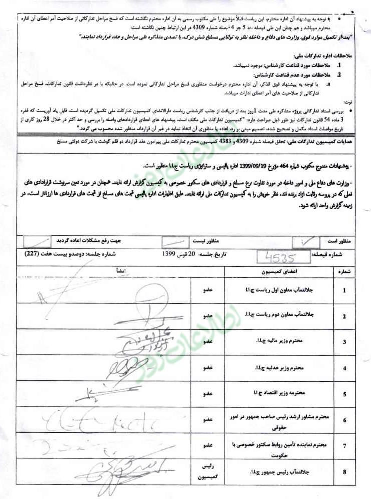 گزارش اداره تدارکات ملی از روند طی مراحل قرارداد گوشت مورد ضرورت قطعات مرکزی وزارت دفاع و داخله